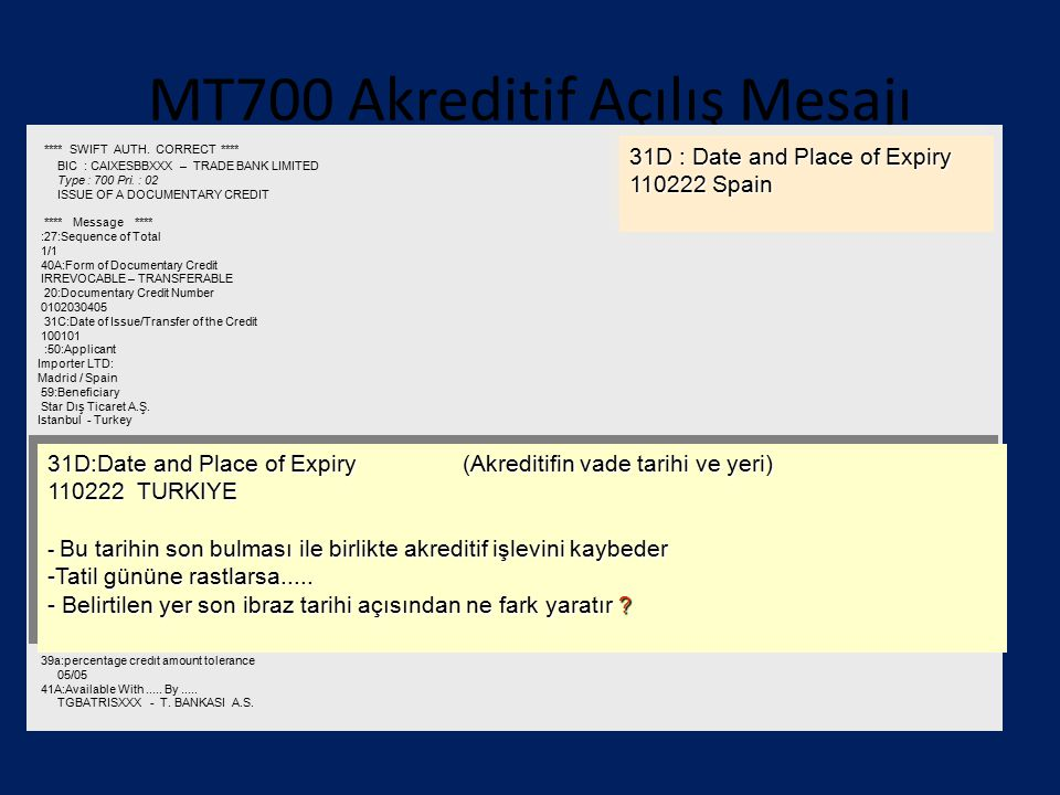 MT700 Akreditif Açılış Mesajı **** SWIFT AUTH. CORRECT **** BIC : CAIXESBBXXX – TRADE BANK LIMITED Type : 700 Pri. : 02 ISSUE OF A DOCUMENTARY CREDIT