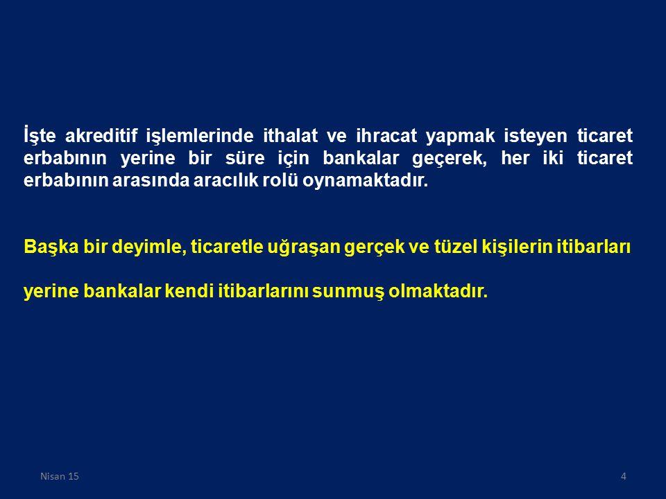 AKREDİTİFTE TARAFLAR AMİR (İTHALATÇI) (PRICIPAL / APPLICANT) LEHTAR (İHRACATÇI) (BENEFICIARY) AMİR BANKA (İTHALATÇININ BANKASI) (ISSUING BANK) İHBAR BANKASI (İHRACATÇININ BANKASI) (ADVISING BANK) TEYİT BANKASI (İHRACATÇININ BANKASI) (CONFİRMİNG BANK) Nisan 155