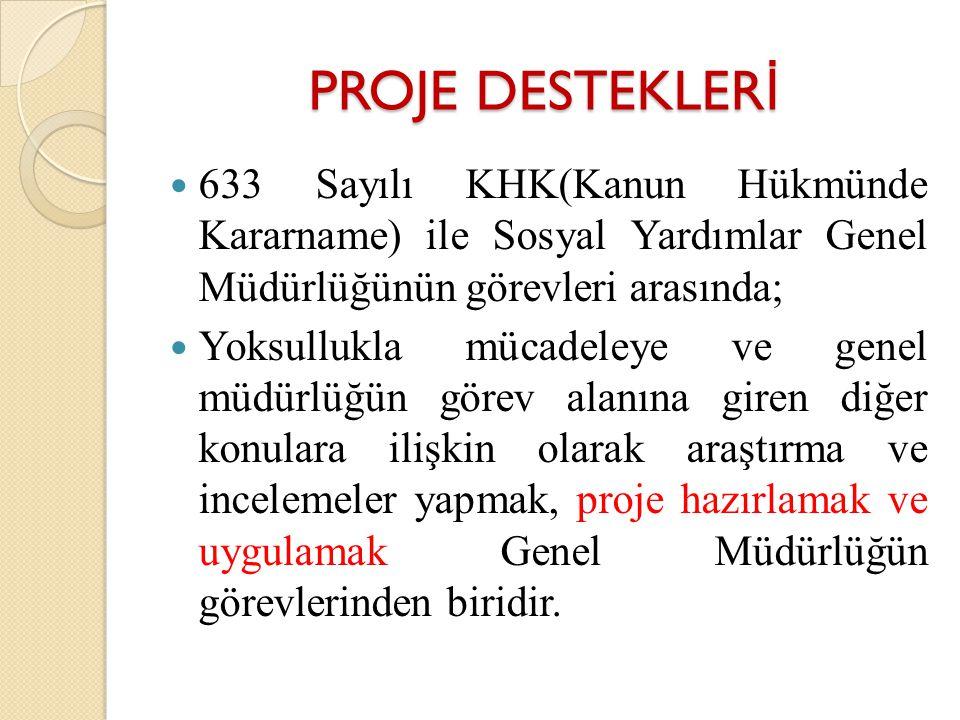 PROJE DESTEKLER İ 633 Sayılı KHK(Kanun Hükmünde Kararname) ile Sosyal Yardımlar Genel Müdürlüğünün görevleri arasında; Yoksullukla mücadeleye ve genel