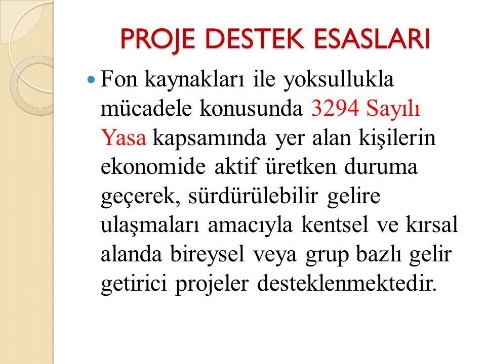 PROJE DESTEK ESASLARI Fon kaynakları ile yoksullukla mücadele konusunda 3294 Sayılı Yasa kapsamında yer alan kişilerin ekonomide aktif üretken duruma