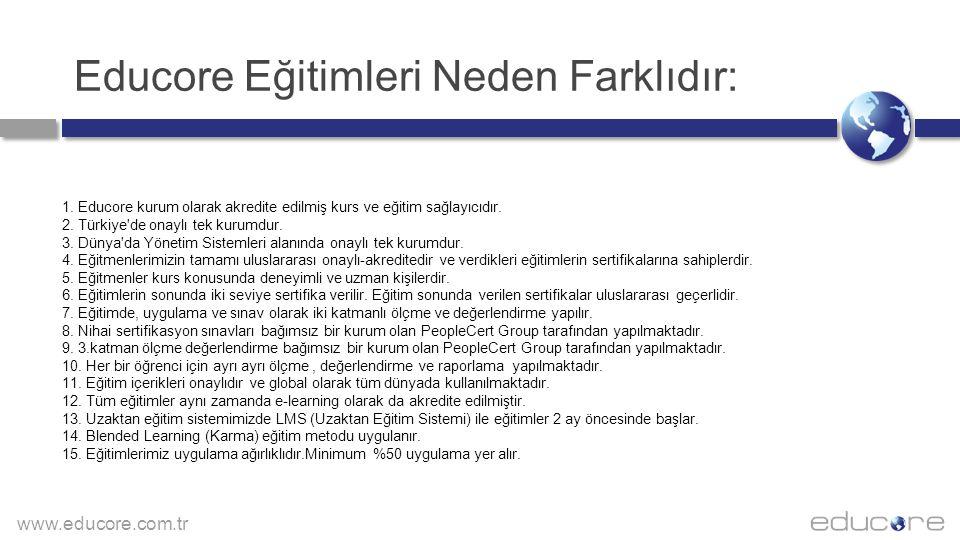 www.educore.com.tr Educore Eğitimleri Neden Farklıdır: 1. Educore kurum olarak akredite edilmiş kurs ve eğitim sağlayıcıdır. 2. Türkiye'de onaylı tek