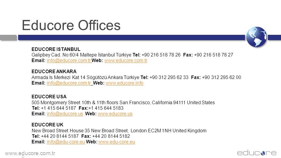 www.educore.com.tr Educore Offices EDUCORE ISTANBUL Galipbey Cad. No:60/4 Maltepe İstanbul Türkiye Tel: +90 216 518 78 26 Fax: +90 216 518 78 27 Email