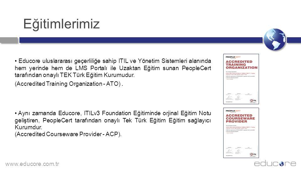 www.educore.com.tr EDUCORE Akredite Sınav Merkezidir Educore uluslararası geçerliliğe sahip ITIL v3 Foundation, IASSC Six Sigma ve Yönetim Sistemleri alanında Sınav yapabilen PeopleCert tarafından onaylı bir Sınav Merkezidir.