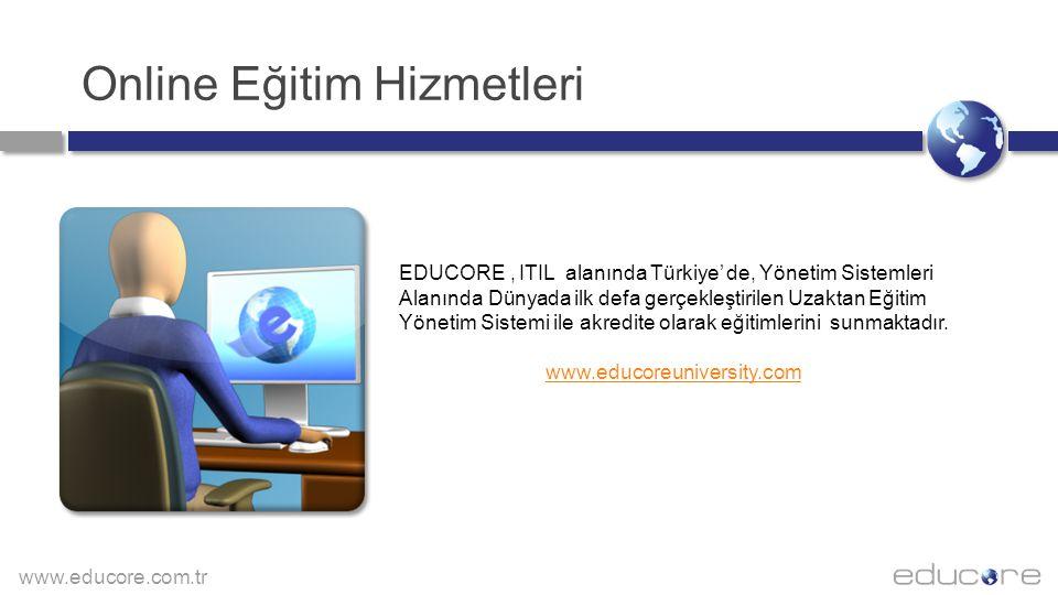 www.educore.com.tr Online Eğitim Hizmetleri EDUCORE, ITIL alanında Türkiye' de, Yönetim Sistemleri Alanında Dünyada ilk defa gerçekleştirilen Uzaktan Eğitim Yönetim Sistemi ile akredite olarak eğitimlerini sunmaktadır.