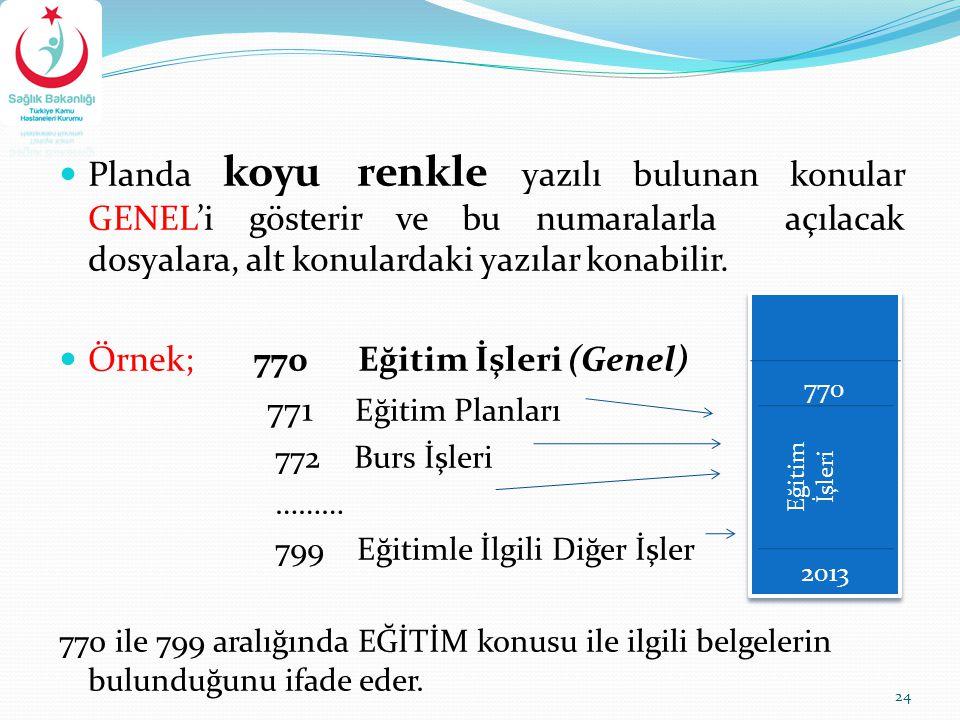 Planda koyu renkle yazılı bulunan konular GENEL'i gösterir ve bu numaralarla açılacak dosyalara, alt konulardaki yazılar konabilir. Örnek; 770 Eğitim