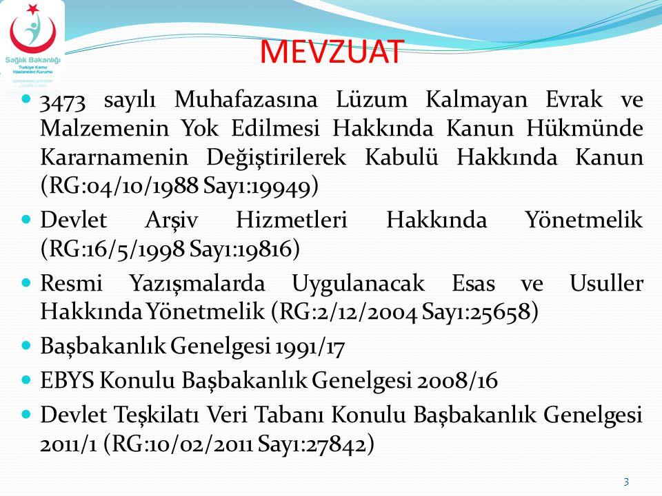 MEVZUAT 3473 sayılı Muhafazasına Lüzum Kalmayan Evrak ve Malzemenin Yok Edilmesi Hakkında Kanun Hükmünde Kararnamenin Değiştirilerek Kabulü Hakkında K