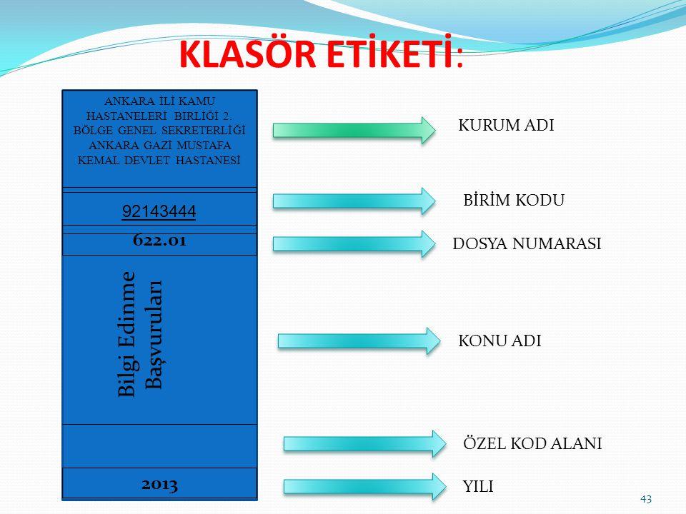 KLASÖR ETİKETİ: 43 ANKARA İLİ KAMU HASTANELERİ BİRLİĞİ 2. BÖLGE GENEL SEKRETERLİĞİ ANKARA GAZİ MUSTAFA KEMAL DEVLET HASTANESİ 92143444 2013 622.01 Bil