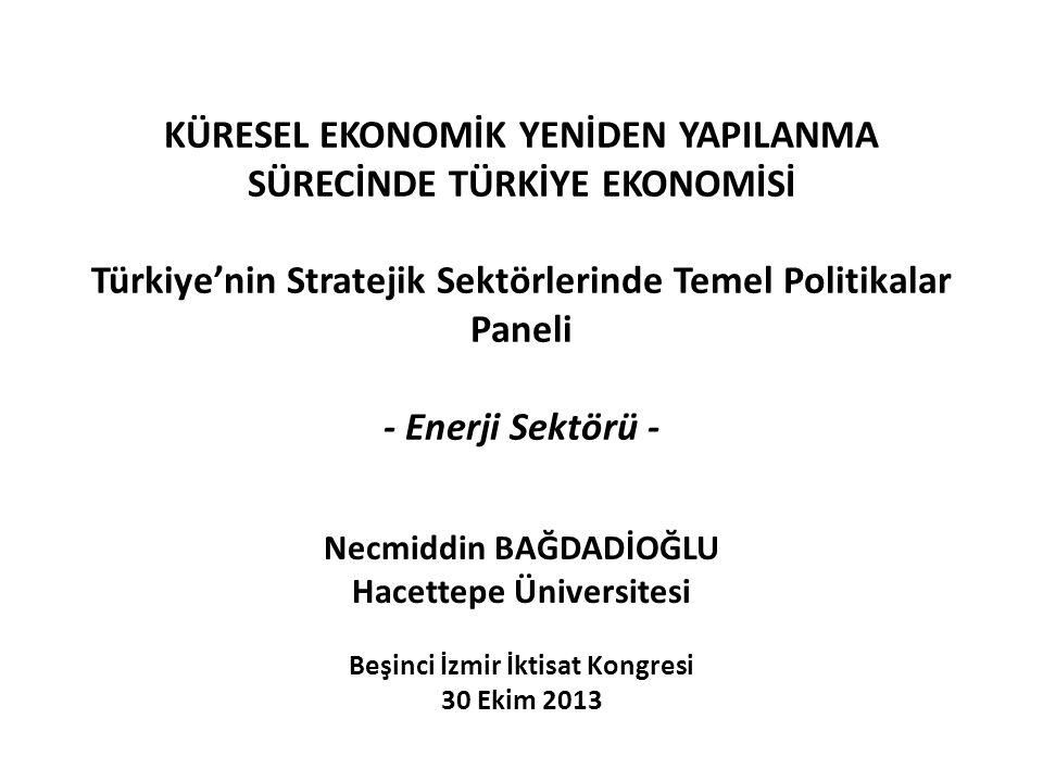 KÜRESEL EKONOMİK YENİDEN YAPILANMA SÜRECİNDE TÜRKİYE EKONOMİSİ Türkiye'nin Stratejik Sektörlerinde Temel Politikalar Paneli - Enerji Sektörü - Necmidd