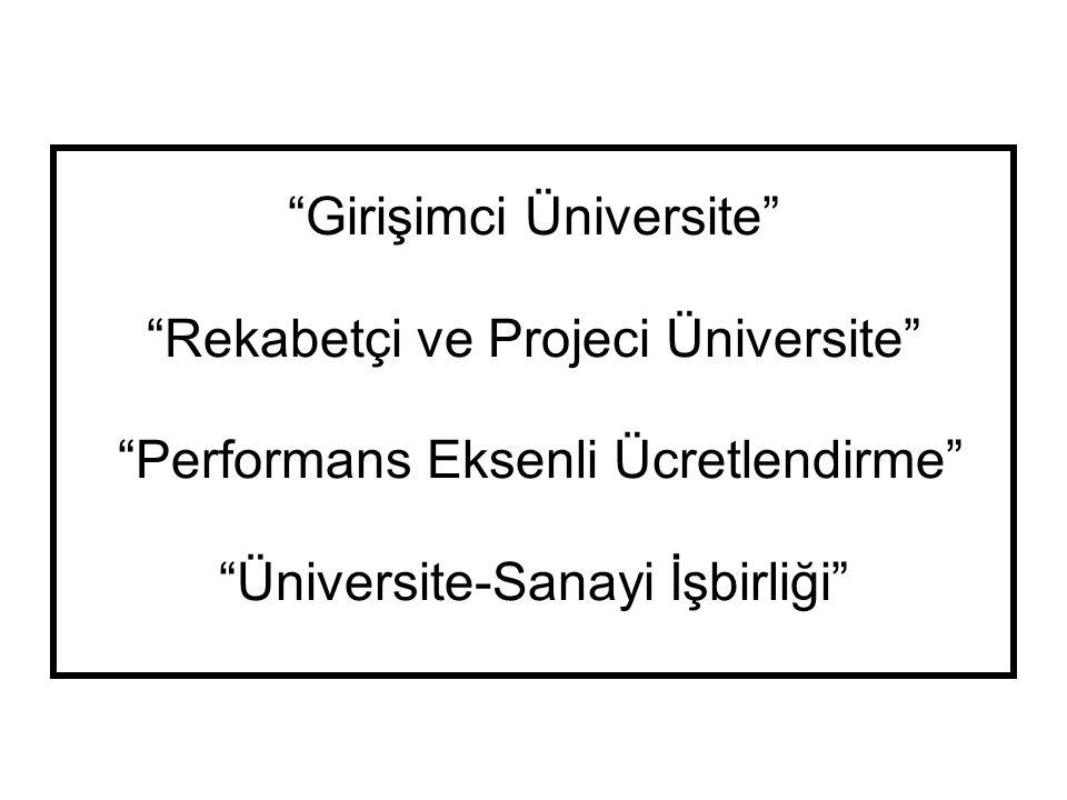 """""""Girişimci Üniversite"""" """"Rekabetçi ve Projeci Üniversite"""" """"Performans Eksenli Ücretlendirme"""" """"Üniversite-Sanayi İşbirliği"""""""
