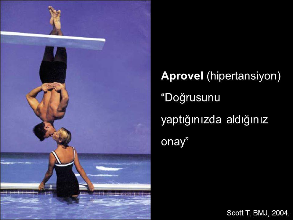 "Aprovel (hipertansiyon) ""Doğrusunu yaptığınızda aldığınız onay"" Scott T. BMJ, 2004."
