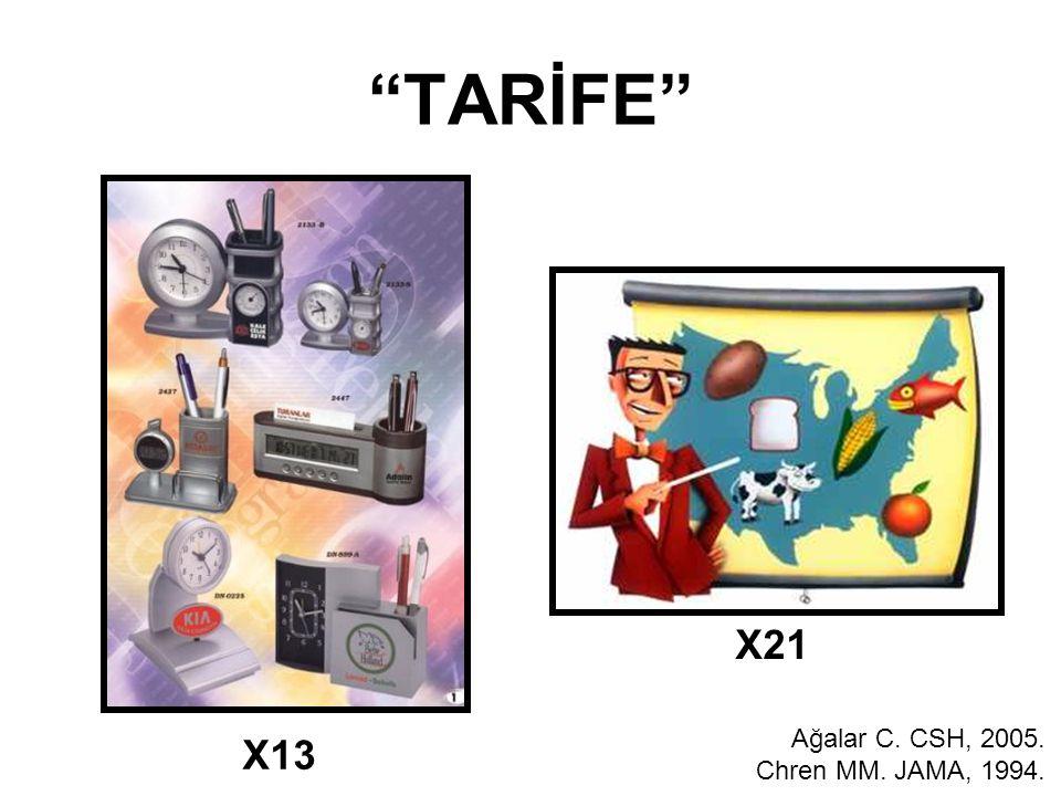 """TARİFE"" X13 X21 Ağalar C. CSH, 2005. Chren MM. JAMA, 1994."