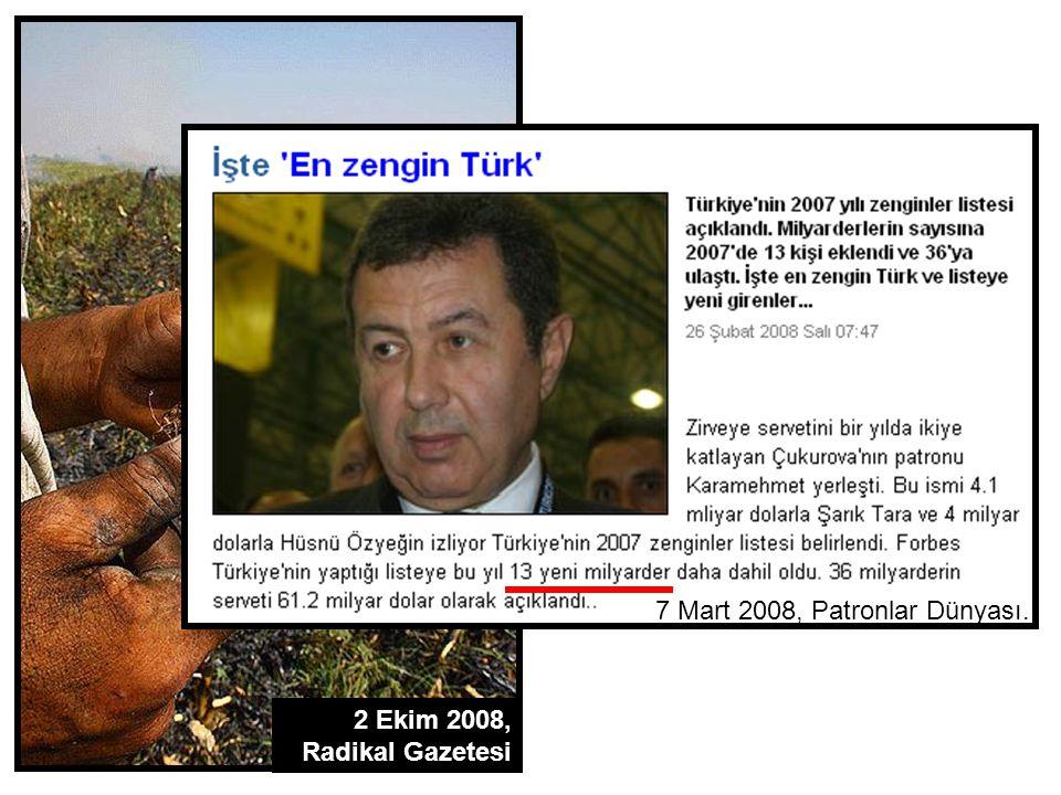 2 Ekim 2008, Radikal Gazetesi 7 Mart 2008, Patronlar Dünyası.