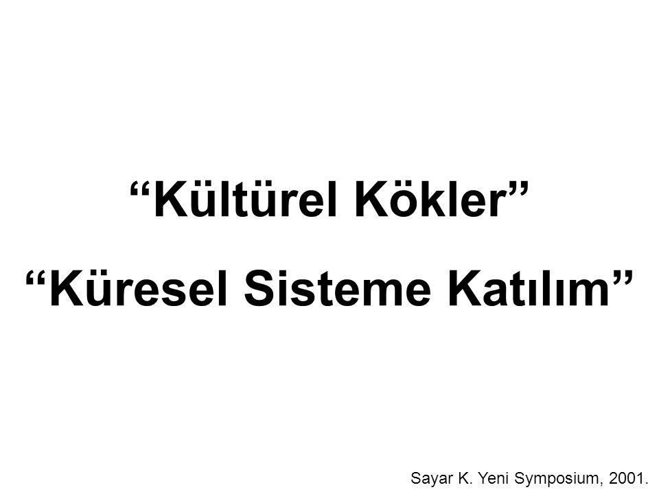 """""""Kültürel Kökler"""" """"Küresel Sisteme Katılım"""" Sayar K. Yeni Symposium, 2001."""