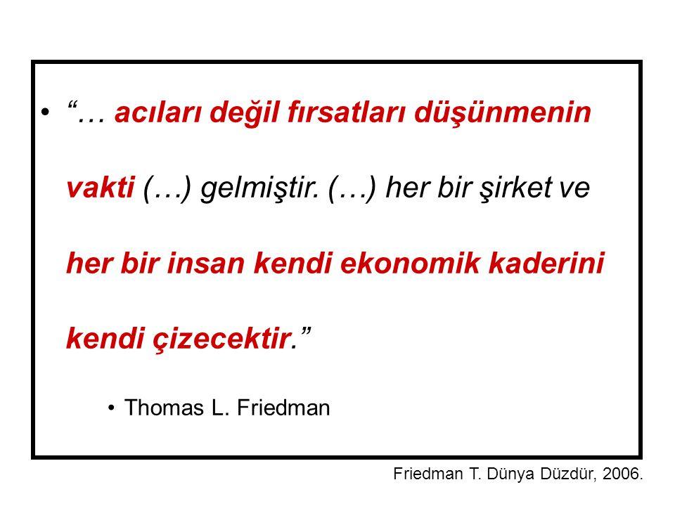 """""""… acıları değil fırsatları düşünmenin vakti (…) gelmiştir. (…) her bir şirket ve her bir insan kendi ekonomik kaderini kendi çizecektir."""" Thomas L. F"""