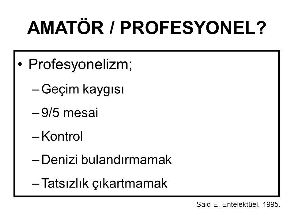 AMATÖR / PROFESYONEL? Profesyonelizm; –Geçim kaygısı –9/5 mesai –Kontrol –Denizi bulandırmamak –Tatsızlık çıkartmamak Said E. Entelektüel, 1995.