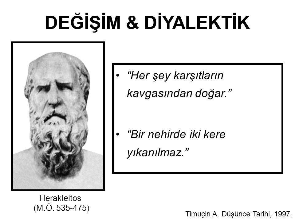 """DEĞİŞİM & DİYALEKTİK """"Her şey karşıtların kavgasından doğar."""" """"Bir nehirde iki kere yıkanılmaz."""" Timuçin A. Düşünce Tarihi, 1997. Herakleitos (M.Ö. 53"""