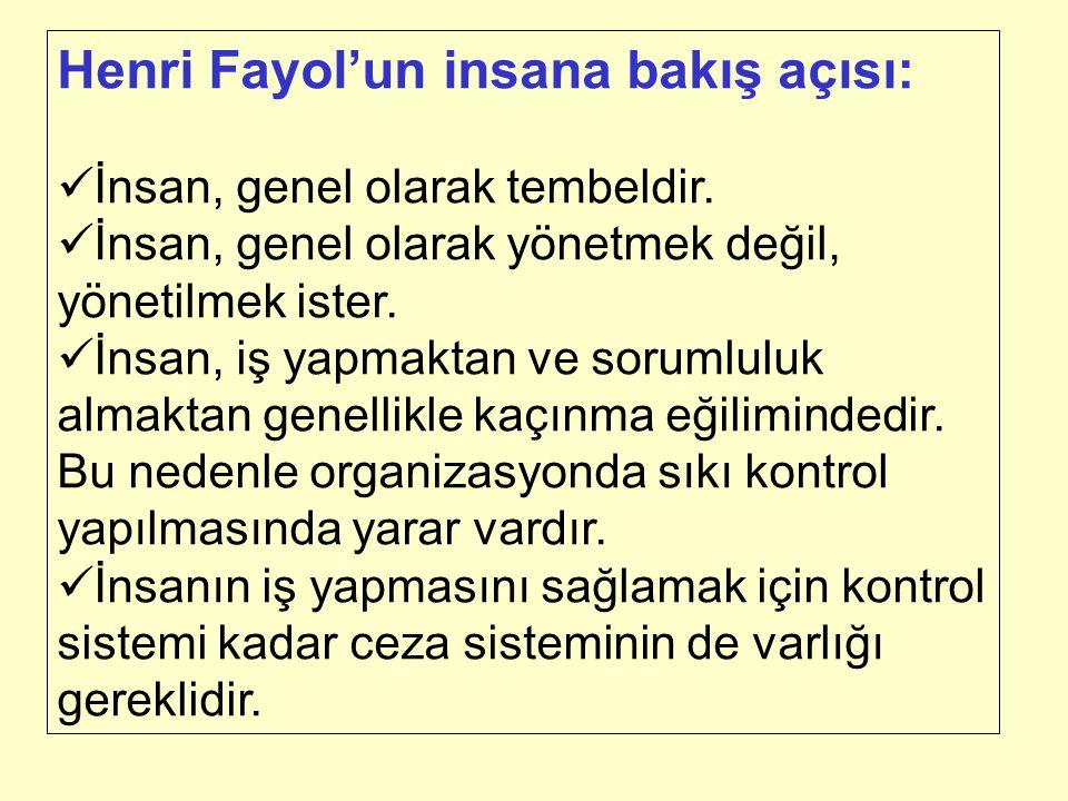 Henri Fayol'un insana bakış açısı: İnsan, genel olarak tembeldir. İnsan, genel olarak yönetmek değil, yönetilmek ister. İnsan, iş yapmaktan ve sorumlu