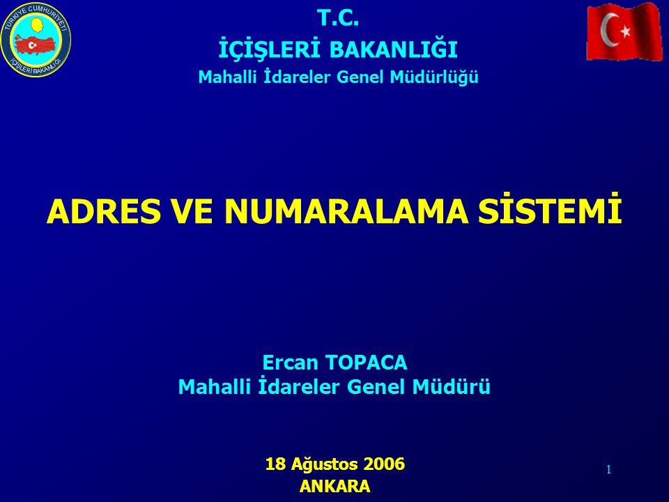 1 ADRES VE NUMARALAMA SİSTEMİ T.C. İÇİŞLERİ BAKANLIĞI Mahalli İdareler Genel Müdürlüğü 18 Ağustos 2006 ANKARA Ercan TOPACA Mahalli İdareler Genel Müdü