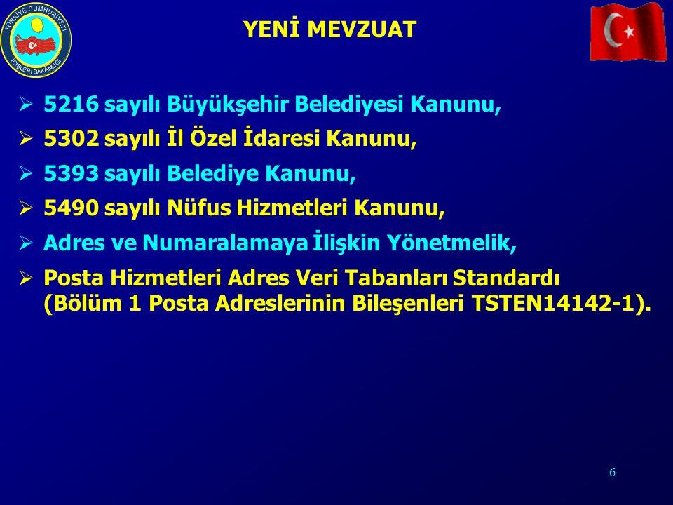 6 YENİ MEVZUAT  5216 sayılı Büyükşehir Belediyesi Kanunu,  5302 sayılı İl Özel İdaresi Kanunu,  5393 sayılı Belediye Kanunu,  5490 sayılı Nüfus Hi