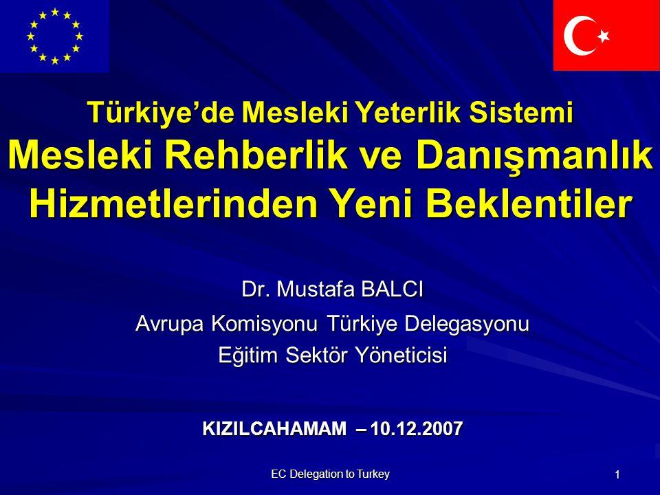 EC Delegation to Turkey 2 Mesleki Rehberlik ve Danışmanlık Hizmetlerinin Önemi Hayatboyu mesleki rehberlik ve danışmanlık hizmetleri; her yaştaki bireylerin yaşamlarının herhangi bir noktasında eğitimle, öğretimle ve meslekleriyle ilgili seçimler yapmaları ve mesleki yeterliklerini geliştirmeleri için yardımcı olan hizmetler anlamına gelir.