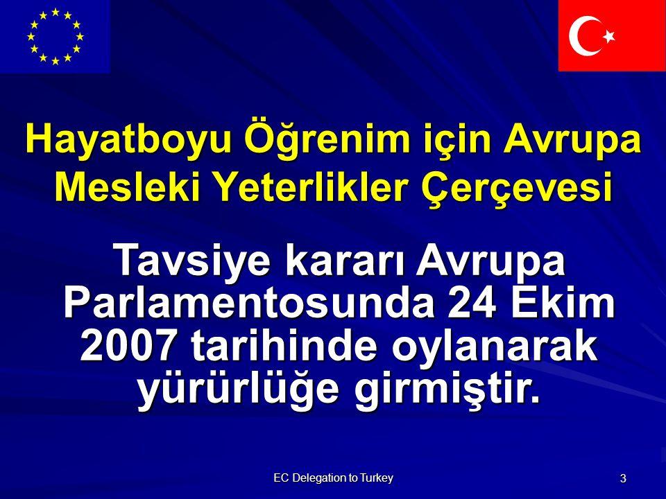 EC Delegation to Turkey 3 Hayatboyu Öğrenim için Avrupa Mesleki Yeterlikler Çerçevesi Tavsiye kararı Avrupa Parlamentosunda 24 Ekim 2007 tarihinde oylanarak yürürlüğe girmiştir.