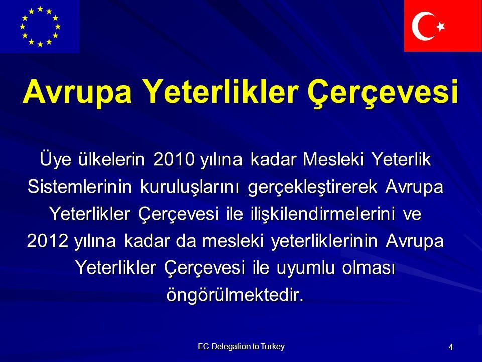 EC Delegation to Turkey 4 Avrupa Yeterlikler Çerçevesi Üye ülkelerin 2010 yılına kadar Mesleki Yeterlik Sistemlerinin kuruluşlarını gerçekleştirerek Avrupa Yeterlikler Çerçevesi ile ilişkilendirmelerini ve 2012 yılına kadar da mesleki yeterliklerinin Avrupa Yeterlikler Çerçevesi ile uyumlu olması öngörülmektedir.