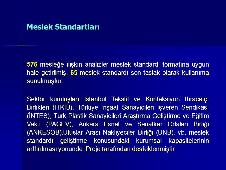 576 mesleğe ilişkin analizler meslek standardı formatına uygun hale getirilmiş, 65 meslek standardı son taslak olarak kullanıma sunulmuştur.
