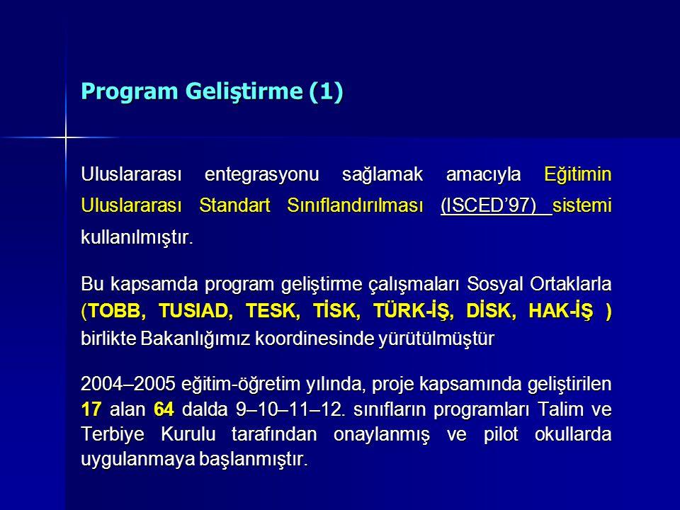 Program Geliştirme (1) Uluslararası entegrasyonu sağlamak amacıyla Eğitimin Uluslararası Standart Sınıflandırılması (ISCED'97) sistemi kullanılmıştır.