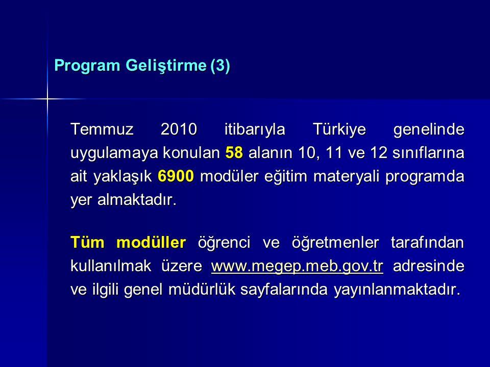 Program Geliştirme (3) Temmuz 2010 itibarıyla Türkiye genelinde uygulamaya konulan 58 alanın 10, 11 ve 12 sınıflarına ait yaklaşık 6900 modüler eğitim materyali programda yer almaktadır.