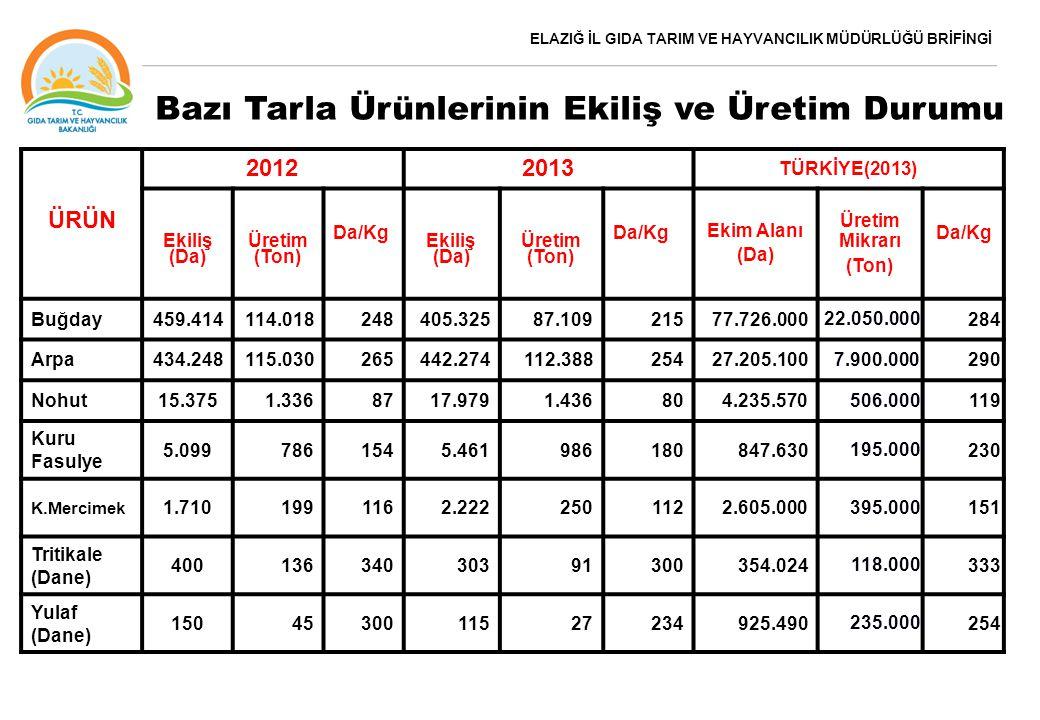 ELAZIĞ İL GIDA TARIM VE HAYVANCILIK MÜDÜRLÜĞÜ BRİFİNGİ Bazı Tarla Ürünlerinin Ekiliş ve Üretim Durumu ÜRÜN 20122013 TÜRKİYE(2013) Ekiliş (Da) Üretim (Ton) Da/Kg Ekiliş (Da) Üretim (Ton) Da/Kg Ekim Alanı (Da) Üretim Mikrarı (Ton) Da/Kg Buğday459.414114.018248405.32587.10921577.726.000 22.050.000 284 Arpa434.248115.030265442.274112.38825427.205.100 7.900.000 290 Nohut15.3751.3368717.9791.436804.235.570 506.000 119 Kuru Fasulye 5.0997861545.461986180847.630 195.000 230 K.Mercimek 1.7101991162.2222501122.605.000 395.000 151 Tritikale (Dane) 40013634030391300354.024 118.000 333 Yulaf (Dane) 1504530011527234925.490 235.000 254