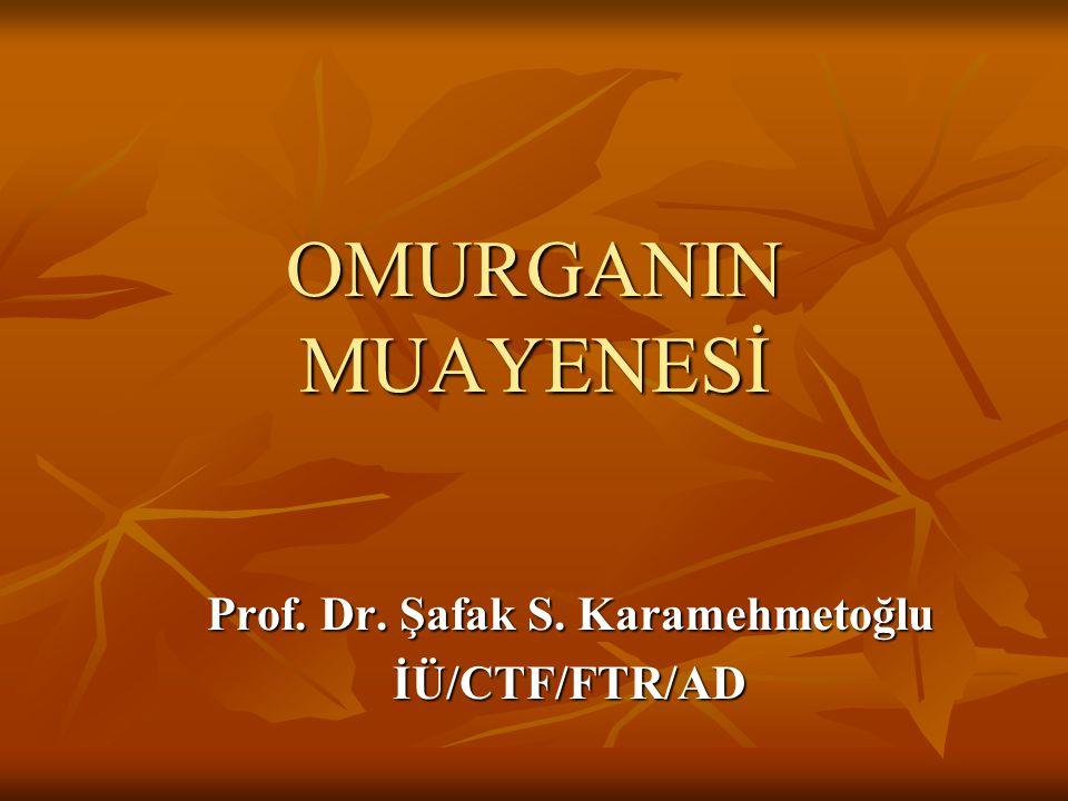 OMURGANIN MUAYENESİ Prof. Dr. Şafak S. Karamehmetoğlu İÜ/CTF/FTR/AD