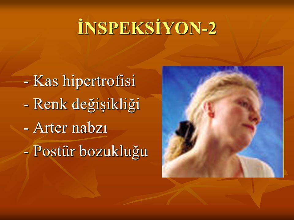 İNSPEKSİYON-2 - Kas hipertrofisi - Kas hipertrofisi - Renk değişikliği - Renk değişikliği - Arter nabzı - Arter nabzı - Postür bozukluğu - Postür bozu