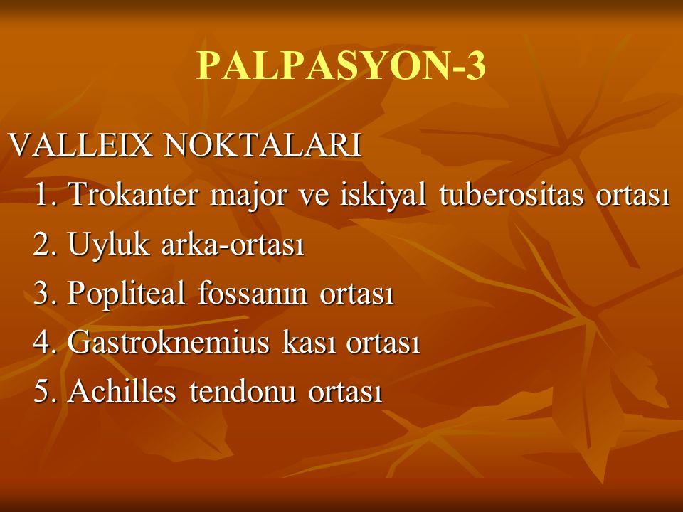 PALPASYON-3 VALLEIX NOKTALARI 1. Trokanter major ve iskiyal tuberositas ortası 1. Trokanter major ve iskiyal tuberositas ortası 2. Uyluk arka-ortası 3