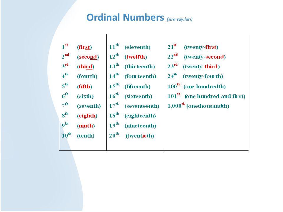 Ordinal Numbers (sıra sayıları)