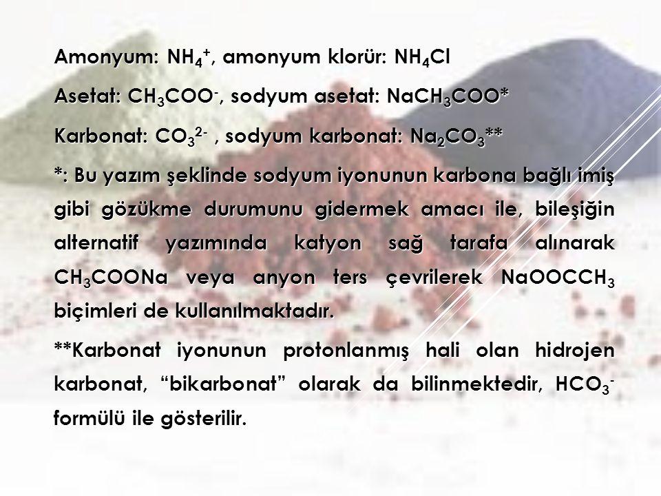 Amonyum: NH 4 +, amonyum klorür: NH 4 Cl Asetat: CH 3 COO -, sodyum asetat: NaCH 3 COO* Karbonat: CO 3 2-, sodyum karbonat: Na 2 CO 3 ** *: Bu yazım şeklinde sodyum iyonunun karbona bağlı imiş gibi gözükme durumunu gidermek amacı ile, bileşiğin alternatif yazımında katyon sağ tarafa alınarak CH 3 COONa veya anyon ters çevrilerek NaOOCCH 3 biçimleri de kullanılmaktadır.