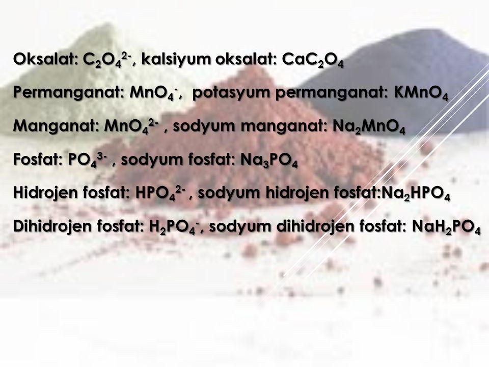 Oksalat: C 2 O 4 2-, kalsiyum oksalat: CaC 2 O 4 Permanganat: MnO 4 -, potasyum permanganat: KMnO 4 Manganat: MnO 4 2-, sodyum manganat: Na 2 MnO 4 Fosfat: PO 4 3-, sodyum fosfat: Na 3 PO 4 Hidrojen fosfat: HPO 4 2-, sodyum hidrojen fosfat:Na 2 HPO 4 Dihidrojen fosfat: H 2 PO 4 -, sodyum dihidrojen fosfat: NaH 2 PO 4