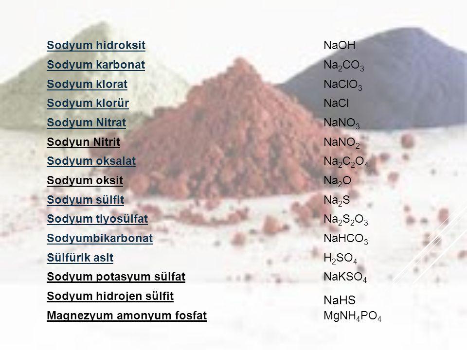 Sodyum hidroksitNaOH Sodyum karbonatNa 2 CO 3 Sodyum kloratNaClO 3 Sodyum klorürNaCl Sodyum NitratNaNO 3 Sodyun NitritNaNO 2 Sodyum oksalatNa 2 C 2 O 4 Sodyum oksitNa 2 O Sodyum sülfitNa 2 S Sodyum tiyosülfatNa 2 S 2 O 3 SodyumbikarbonatNaHCO 3 Sülfürik asitH 2 SO 4 Sodyum potasyum sülfatNaKSO 4 Sodyum hidrojen sülfit NaHS Magnezyum amonyum fosfatMgNH 4 PO 4