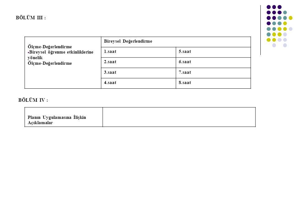 BÖLÜM III : Ölçme-Değerlendirme  Bireysel öğrenme etkinliklerine yönelik Ölçme-Değerlendirme Bireysel Değerlendirme 1.saat5.saat 2.saat6.saat 3.saat7