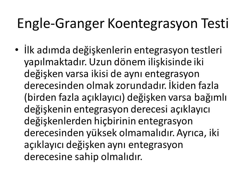 Engle-Granger Koentegrasyon Testi İlk adımda değişkenlerin entegrasyon testleri yapılmaktadır. Uzun dönem ilişkisinde iki değişken varsa ikisi de aynı
