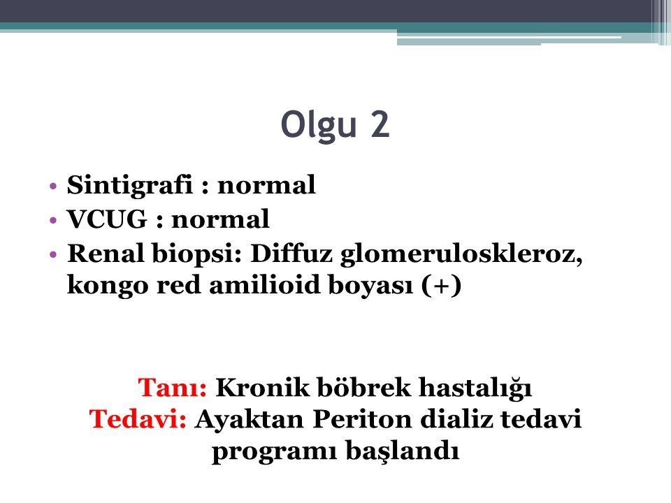 Olgu 2 Sintigrafi : normal VCUG : normal Renal biopsi: Diffuz glomeruloskleroz, kongo red amilioid boyası (+) Tanı: Kronik böbrek hastalığı Tedavi: Ay