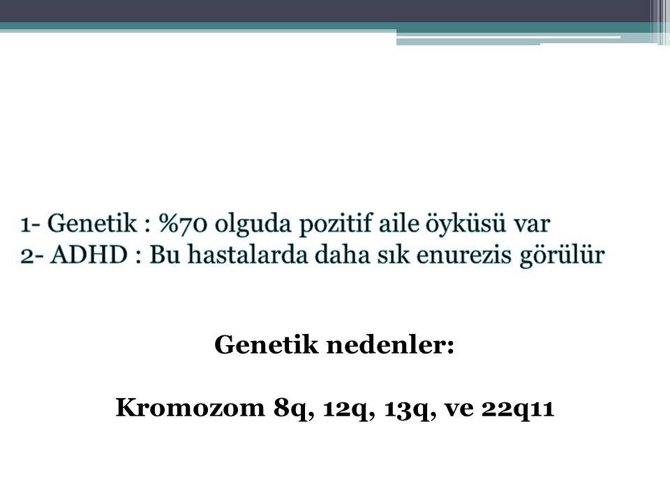 Genetik nedenler: Kromozom 8q, 12q, 13q, ve 22q11