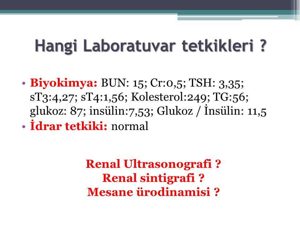 Hangi Laboratuvar tetkikleri ? Biyokimya: BUN: 15; Cr:0,5; TSH: 3,35; sT3:4,27; sT4:1,56; Kolesterol:249; TG:56; glukoz: 87; insülin:7,53; Glukoz / İn