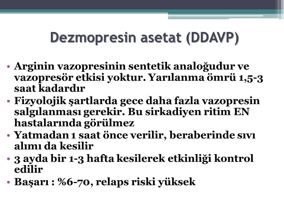 Dezmopresin asetat (DDAVP) Arginin vazopresinin sentetik analoğudur ve vazopresör etkisi yoktur. Yarılanma ömrü 1,5-3 saat kadardır Fizyolojik şartlar