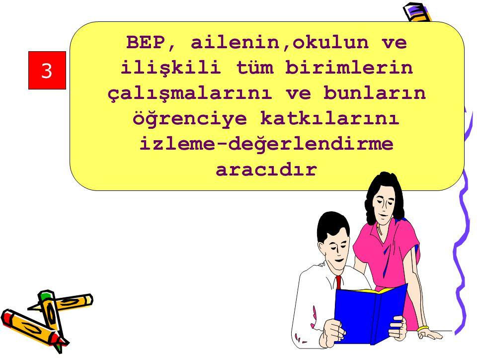 2 BEP,öğrencinin gereksinimi olan destek hizmetlerin öğrenciye sunulacağına dair yazılı bir taahhüttür.