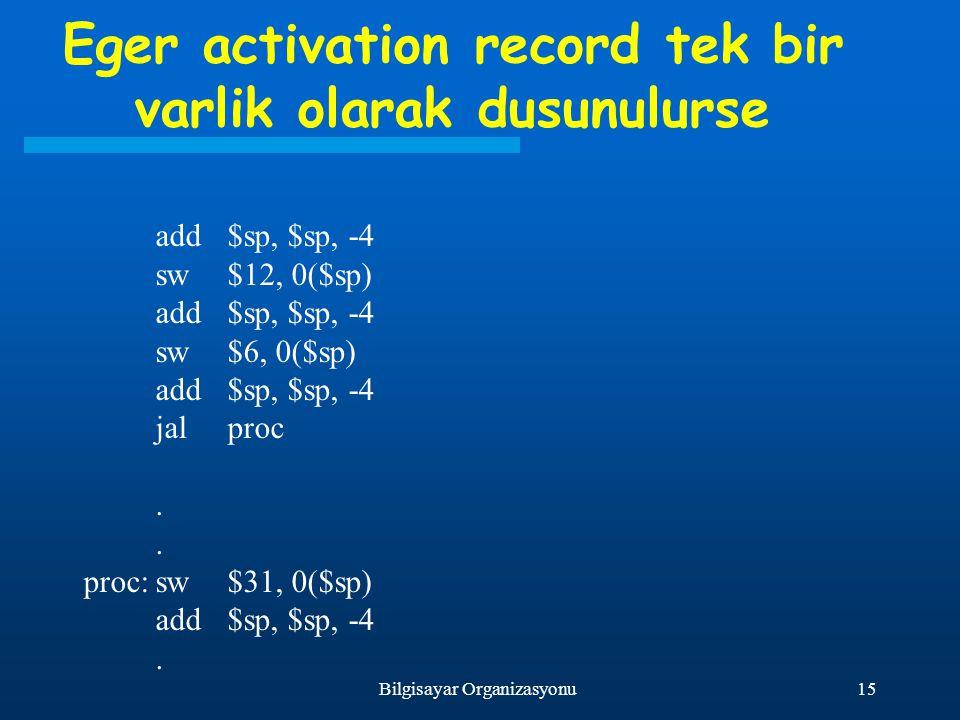 15Bilgisayar Organizasyonu Eger activation record tek bir varlik olarak dusunulurse add$sp, $sp, -4 sw$12, 0($sp) add$sp, $sp, -4 sw$6, 0($sp) add$sp,