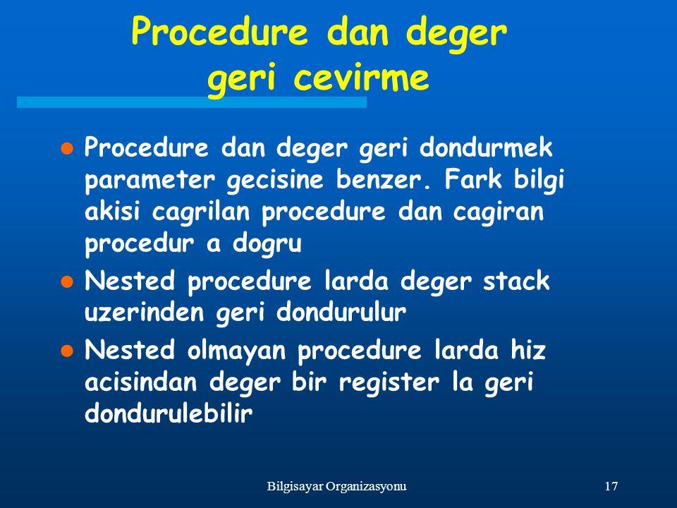17Bilgisayar Organizasyonu Procedure dan deger geri cevirme Procedure dan deger geri dondurmek parameter gecisine benzer. Fark bilgi akisi cagrilan pr