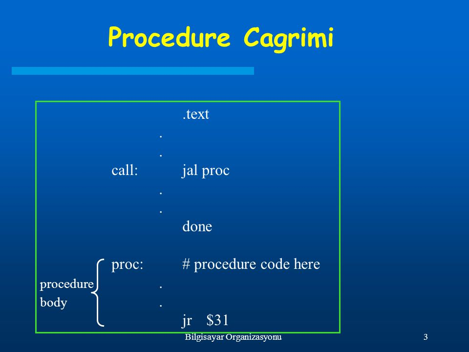3Bilgisayar Organizasyonu Procedure Cagrimi.text. call:jal proc.. done proc:# procedure code here procedure. body. jr$31