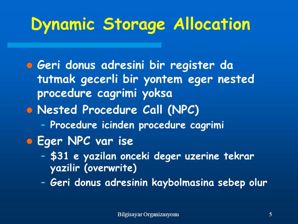 5Bilgisayar Organizasyonu Dynamic Storage Allocation Geri donus adresini bir register da tutmak gecerli bir yontem eger nested procedure cagrimi yoksa