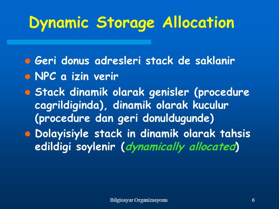 6Bilgisayar Organizasyonu Dynamic Storage Allocation Geri donus adresleri stack de saklanir NPC a izin verir Stack dinamik olarak genisler (procedure
