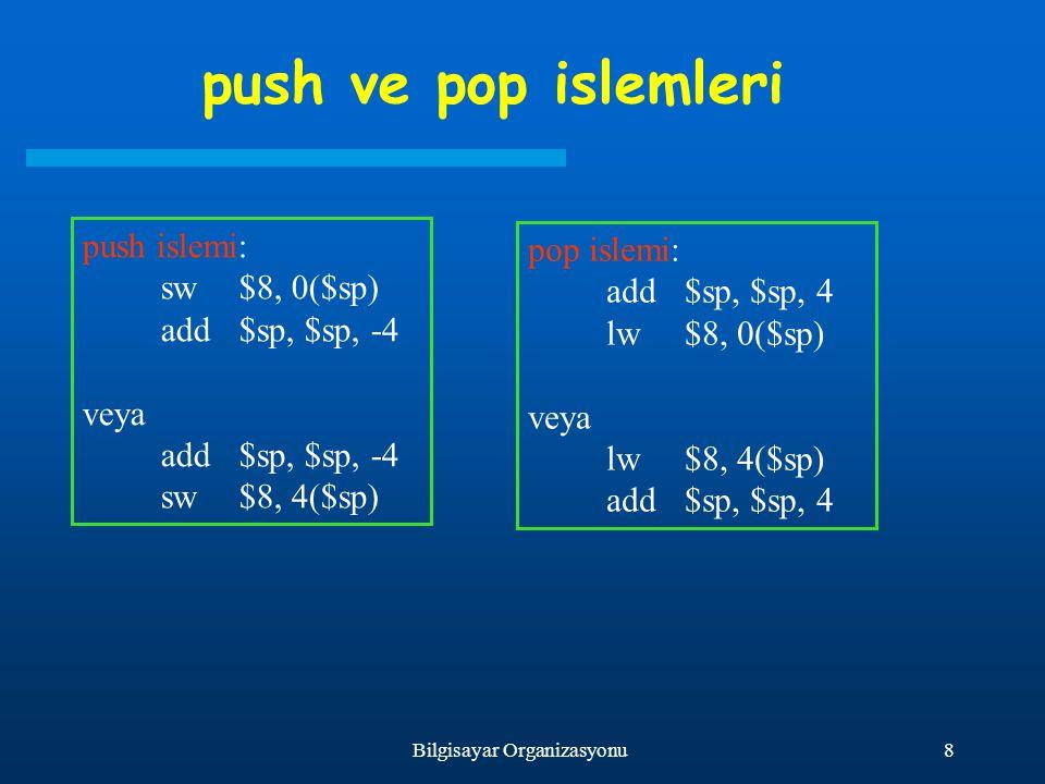 8Bilgisayar Organizasyonu push ve pop islemleri push islemi: sw$8, 0($sp) add$sp, $sp, -4 veya add$sp, $sp, -4 sw$8, 4($sp) pop islemi: add$sp, $sp, 4